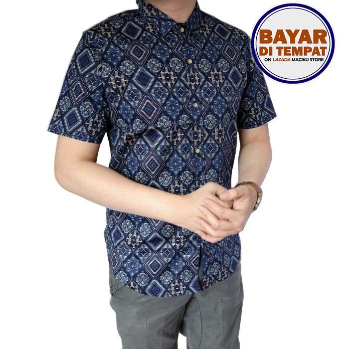 Kemeja Batik Songket Pria Slimfit Batik Songket Lengan Pendek Kemeja Pria Baju Batik Diamond Navy