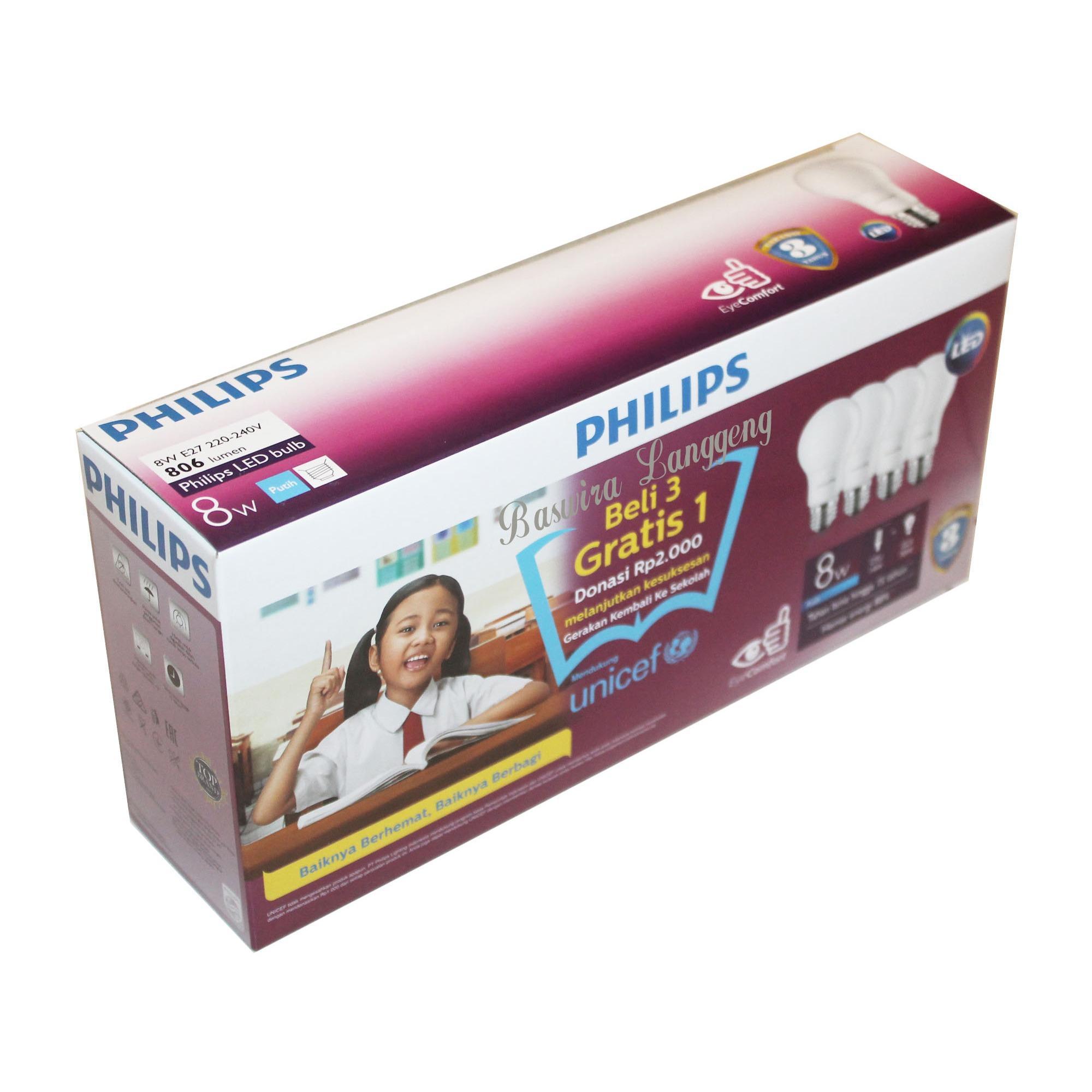 Kehebatan Philips Lampu Led Bulb 8 Watt 8w Unicef Paket Beli 3 Gratis 1 Putih