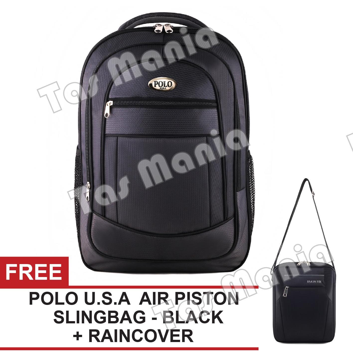 Tas Ransel Polo USA King Cobra Tas Laptop Backpack + Raincover + FREE Polo USA Air