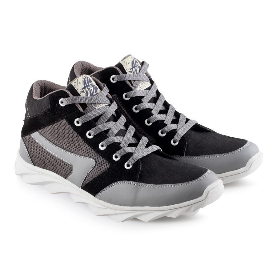Aluz Sepatu Sneaker Casual Pria NFL 185 Keren dan Modis - Synthetic (Abu Hitam)