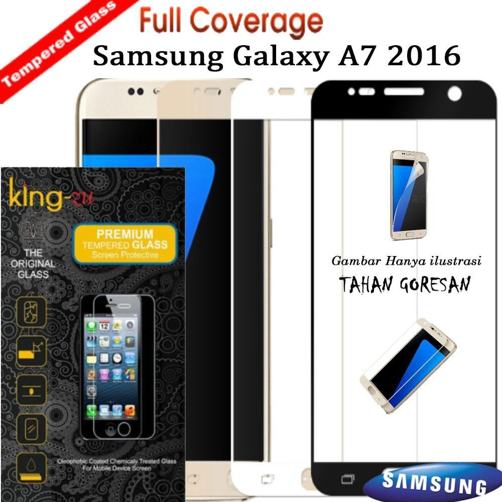 Full Cover Tempered Glass Warna Screen Protector for Samsung galaxy A7 2016 Anti Gores Kaca -