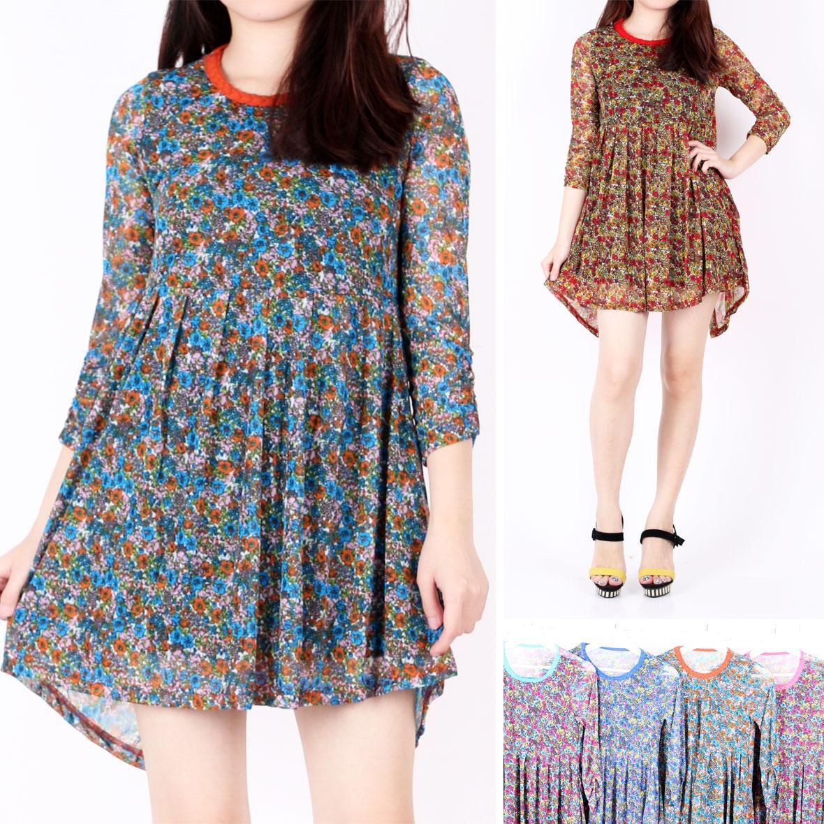 Oma Holley Fashion Filona Mini Dress 3/4 Lengan 4 Warna - Size M