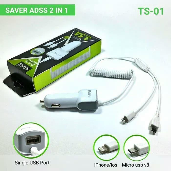 carger mobil adss 2 in 1 iphone 1 port usb