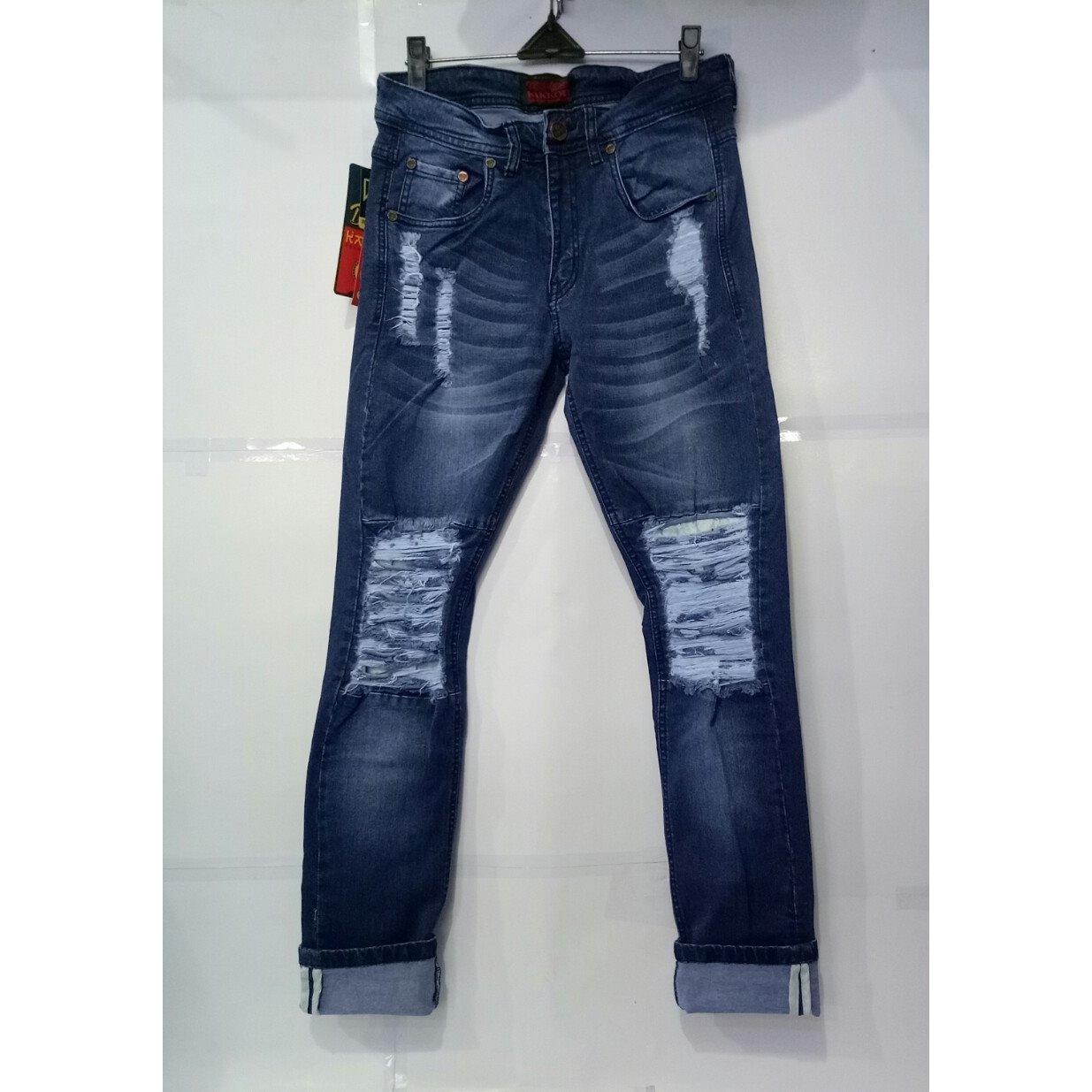 Beli Celana Jeans Pria Sobek Lapis Biru Dongker Yang Bagus