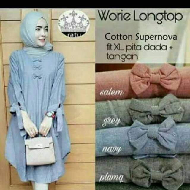 Sakil Collection Baju Atasan Muslim Wanita Tunik Worie Long