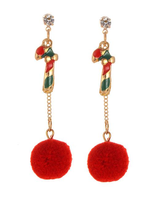 LRC Anting Tusuk Fashion Red Pom Ball Decorated Earrings