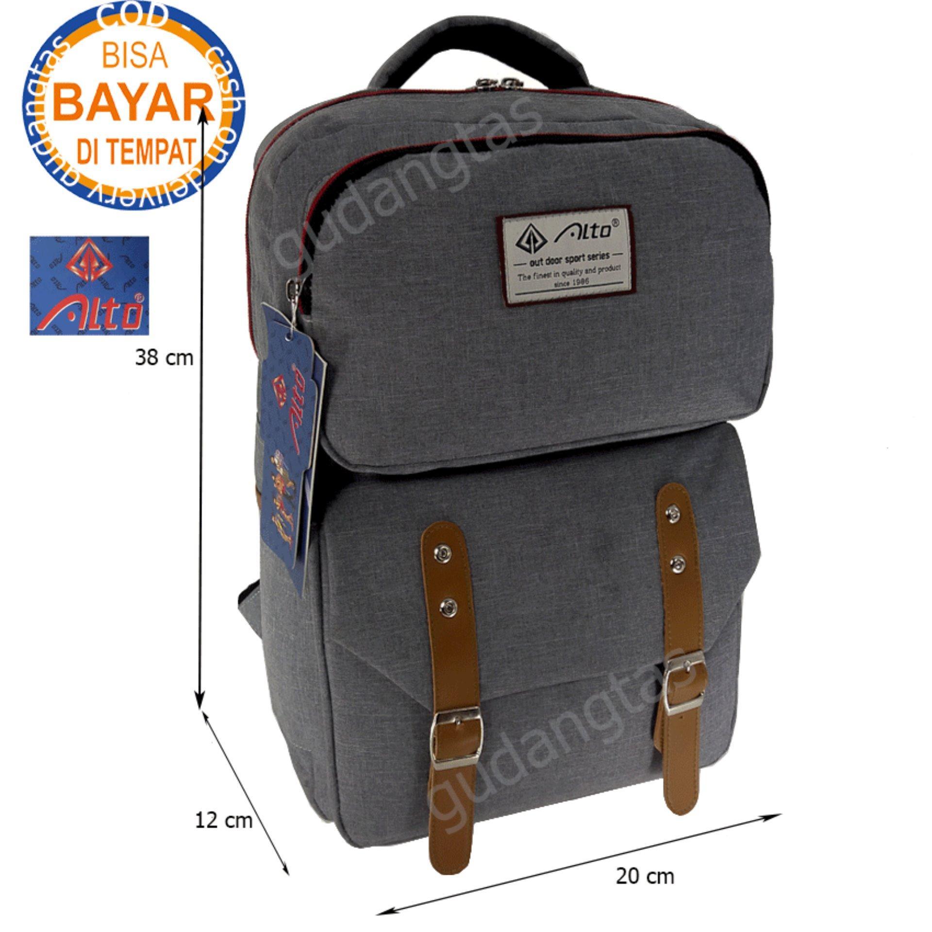 Alto Tas Backpack Kanvas / Sekolah / Remaja / Ransel Kuliah / Korean Bag 78251 – Grey