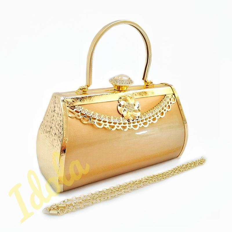 IdolaBags - Tas Pesta Wanita Clutch Hand Bag Farnell Import Cantik Ori bahan Glossy Polos ukuran