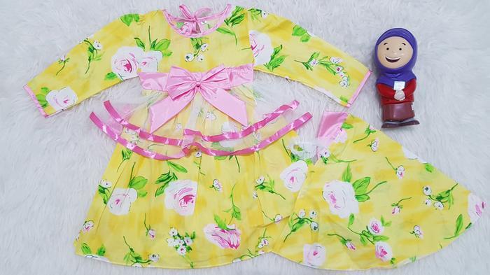 Baju Muslim Anak Bayi Perempuan Gamis Anak Set Kerudung Katun Bunga - baju gamis anak perempuan