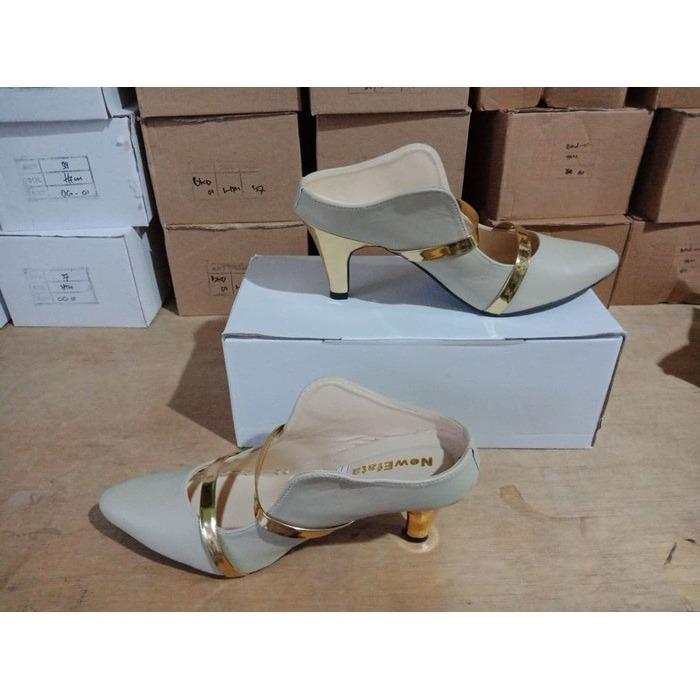 Gambar Produk Rinci Sepatu kerja pesta sandal high heels cream gold baru murah Terkini