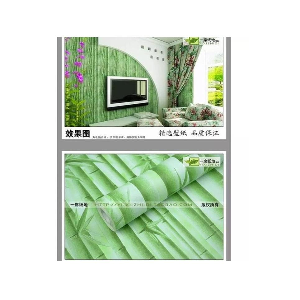 Stiker Wallpaper Dinding - Elegant Wallpaper Sticker (Size 45cm X 10M) - Bambu Hijau