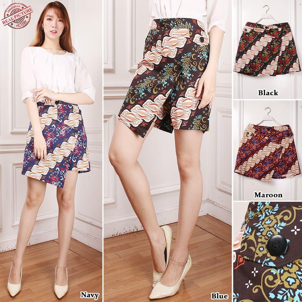 SB Collection Celana Pendek Resi Hotpants Rok Batik Casual Jumbo Wanita All Size Tersedia 4 Warna