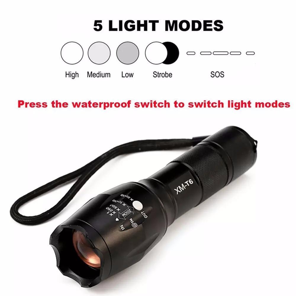 Cek Harga Baru Senter Led Tactical Cree Xm L2 8000 Lumens Ultrafire Lampu Flashlight T6 Black Paket Hemat E17 Lec