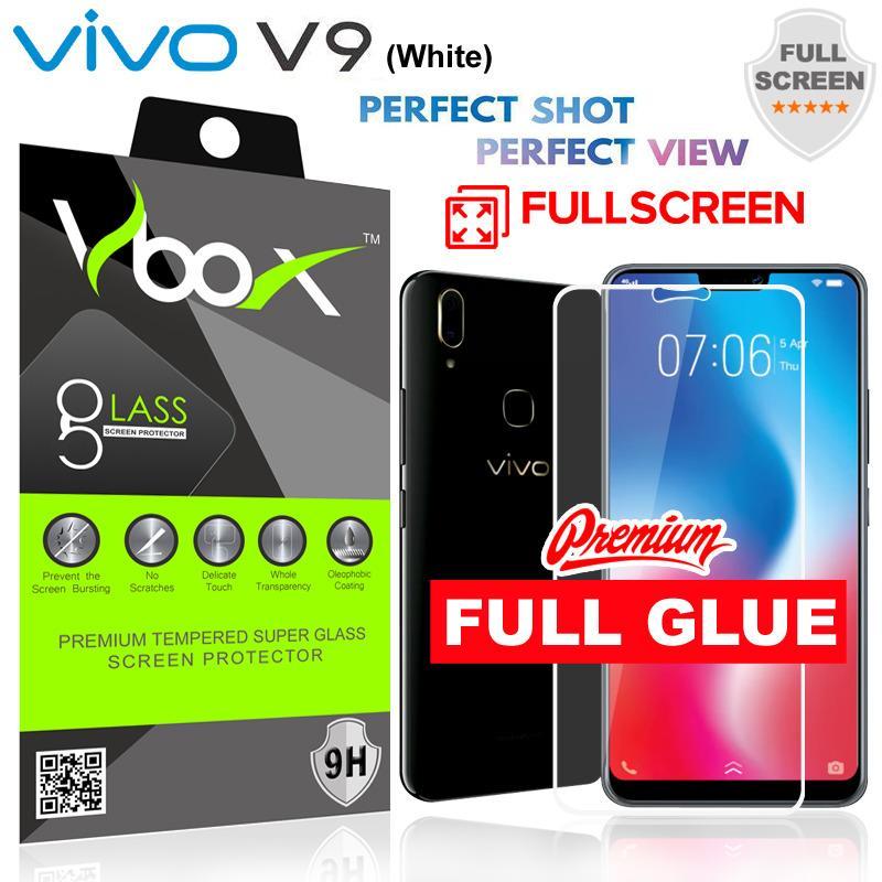 Vbox Vivo V9 Premium Tempered Super Glass Full Screen Full Glue Full Lem - White