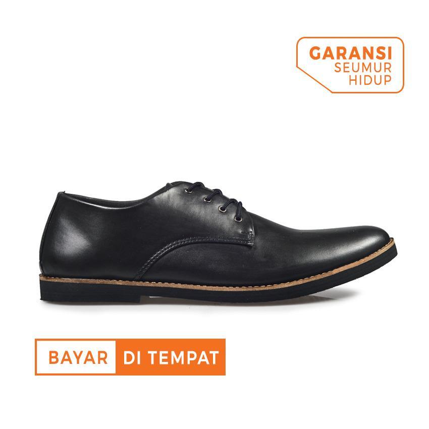 Sepatu Formal Kerja Kulit Pria Giant Flames Fuerte Black Jawa Barat Diskon