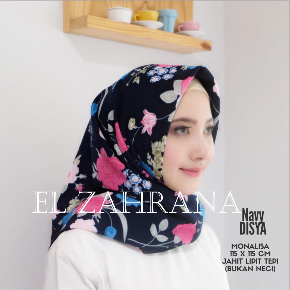 Beli El Zahrana Hijab Kerudung Segi Empat Jilbab Motif Premium Monalisa Di Jawa Timur