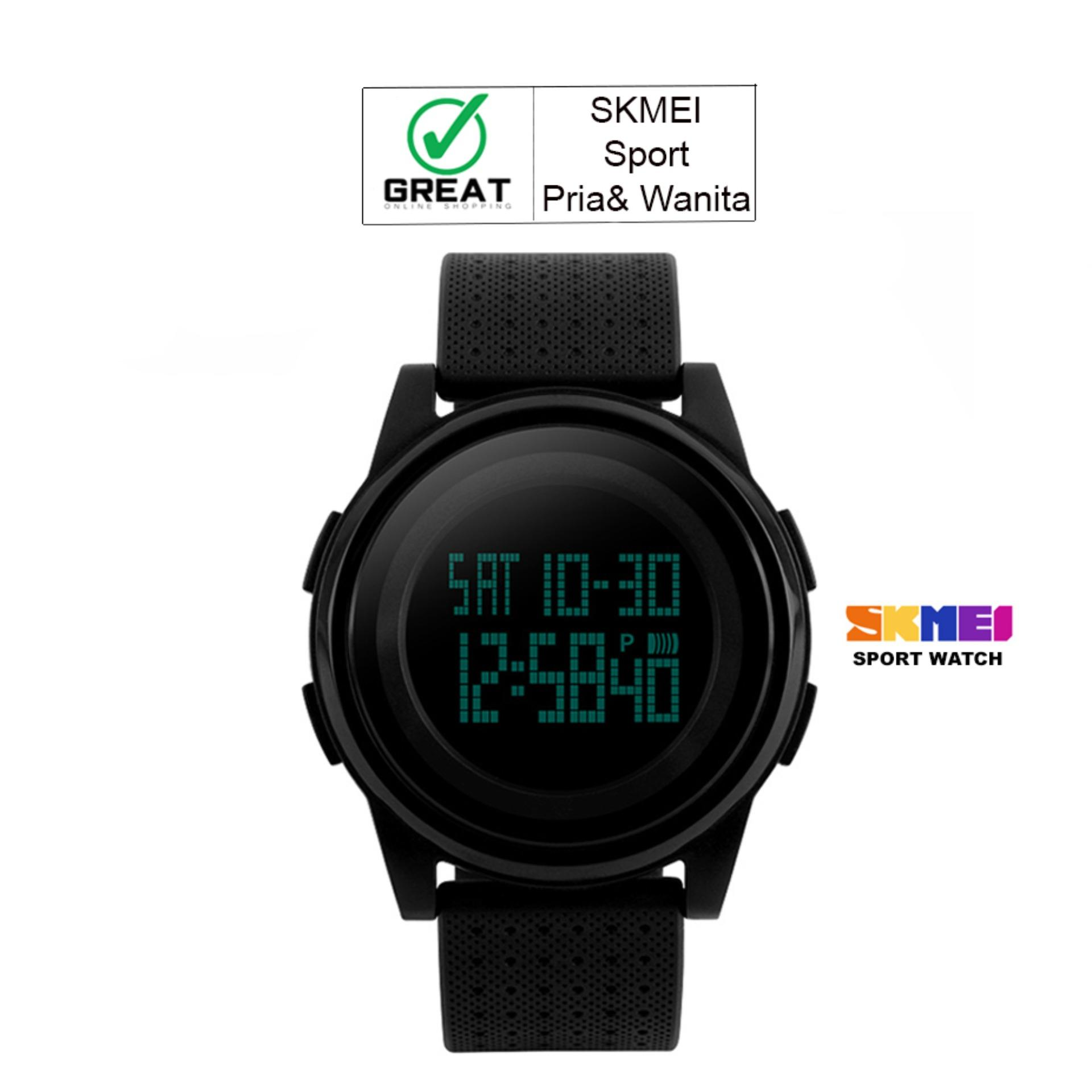 SKMEI Digital Sport Watch Water Resistant 50m DG1206 Jam Tangan Sport Day Date Night Light Stopwatch - Hitam