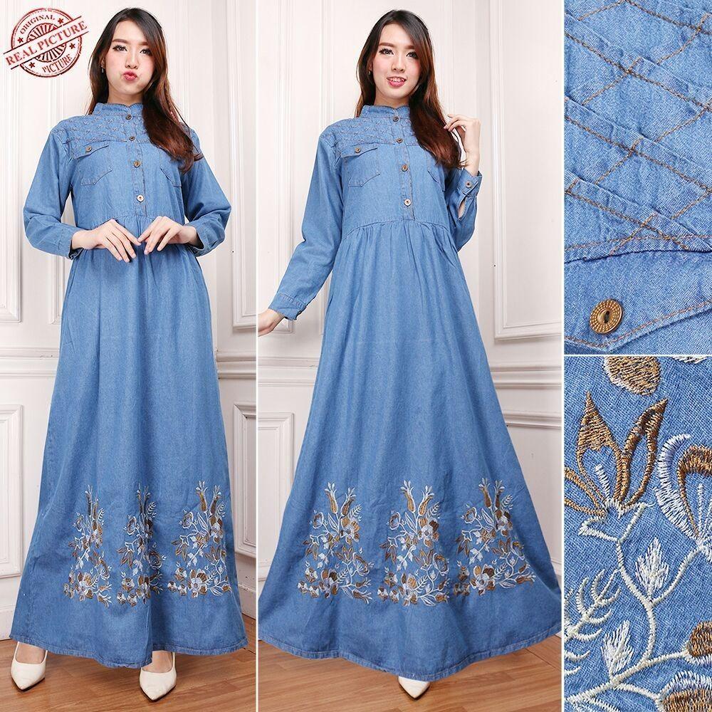 Miracle Dress Maxi Shindra Gamis Jeans Longdress Wanita