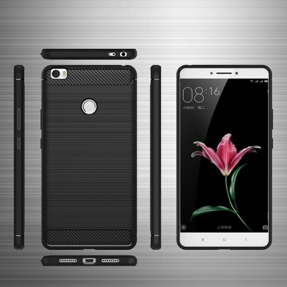 Case Ipaky Silikon Carbon Case Xiaomi Mi Max Case Cover Casing Shockproof  Black Color Brush Carbon ff2becd311