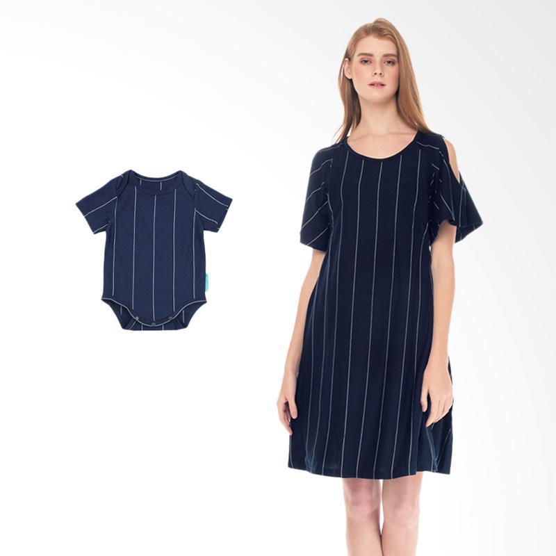 Mooimom Cold Shoulder Nursing Dress & Baby Clothes Baju Hamil Menyusui Couple Ibu Anak - Navy Boy