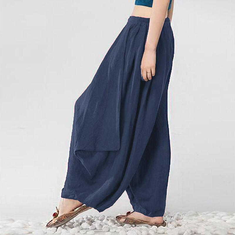 Detail Gambar S-3xl zanzea Wanita Mid Peninggi Kasual Longgar Panjang Panjang Trousers Summer Ladies Wide Leg Party CLUB Celana Harem Plus Ukuran (navy) ...