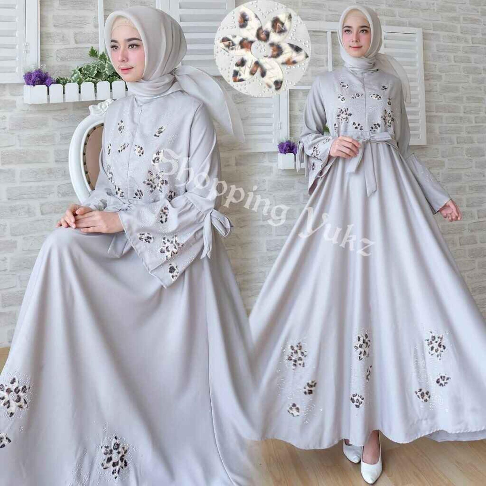 Kelebihan Baju Wanita Shop Maxi Dress Lengan Panjang Raita Gamis Brukat Shopping Yukz Muslim Syari Flower Tanpa Jilbab Hijab