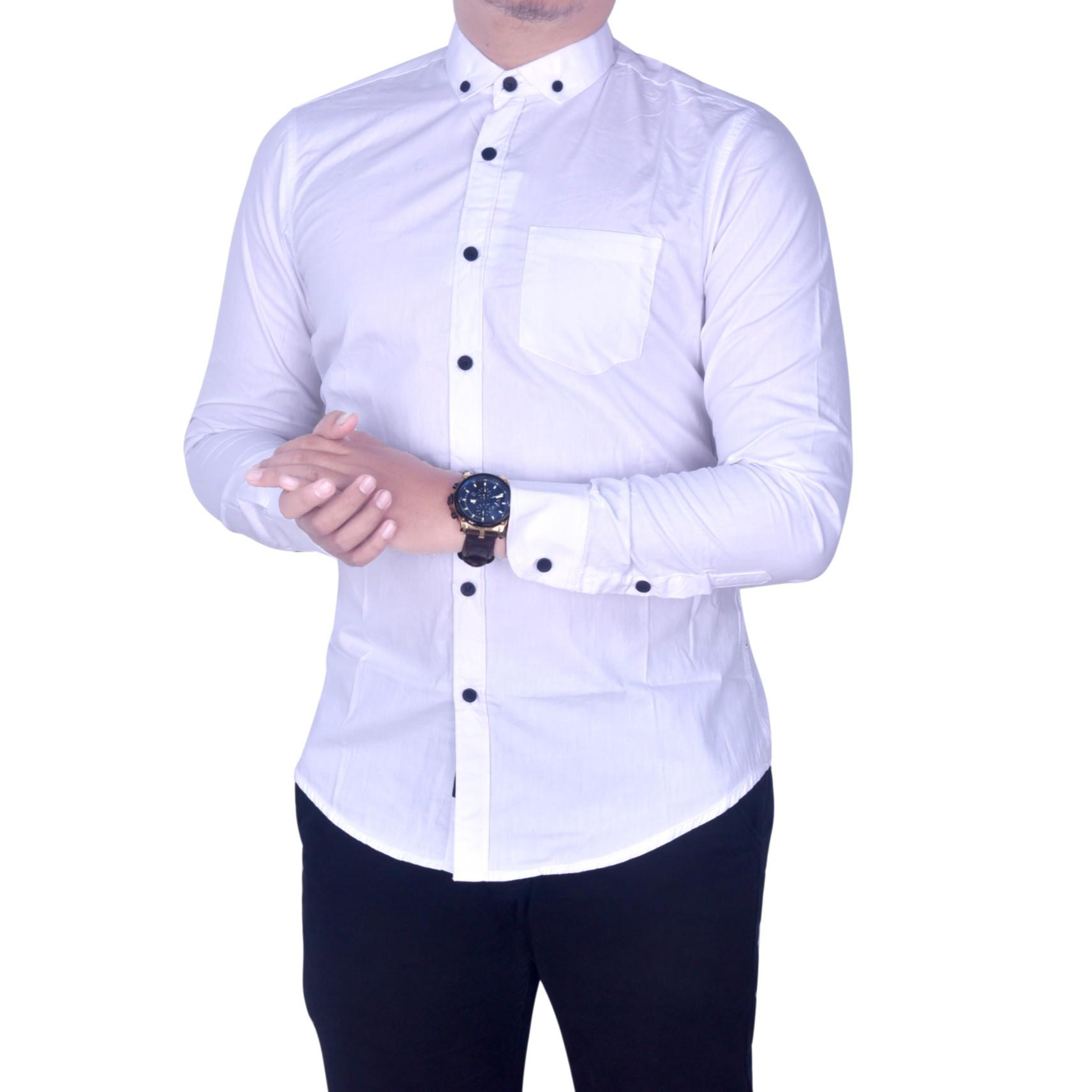 BSG_Fashion1 Kemeja Pria Lengan Panjang Putih Polos /Kemeja Batik Songket/Kemeja Songket/Kemeja Formal/Kemeja Flanel/Kemeja Pantai/Kemeja Casual/Kemeja Polos/Kemeja Tartan/Kemeja Pantai/Kemeja Distro/Kemeja Batik/Kemeja Man PS 4748 Putih - 3