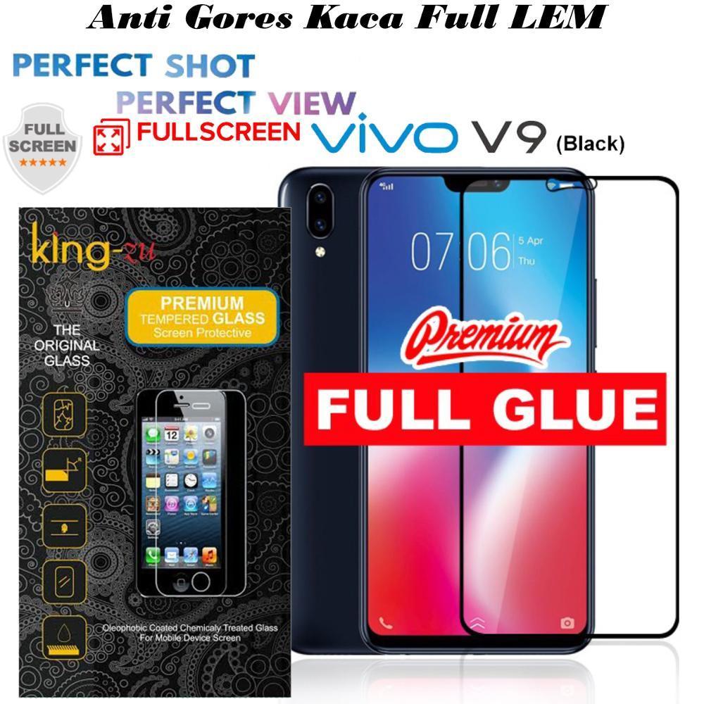 Tempered Glass VIVO V9 Full Pelindung Layar Full GLUE anti gores kaca -HITAM FULL LEM