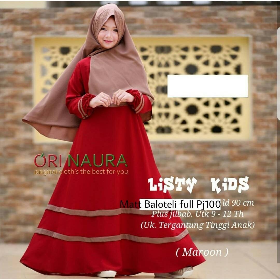 Kehebatan Honeyclothing Dress Muslim Anak Listida Gamis Perempuan Motif Cat Terbaru Baju Hijab