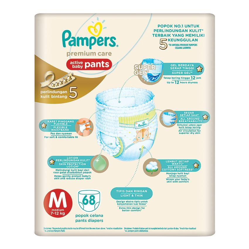 Detail Gambar Pampers Popok Celana Size M 3x68 Premium Care - Popok Bayi Terbaru