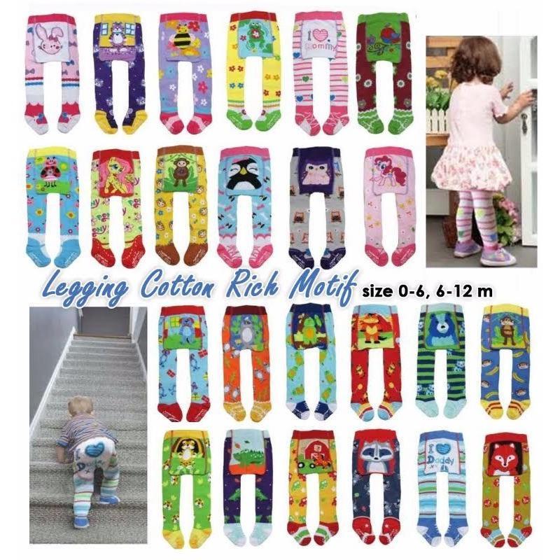 Catton Rich Legging Bayi Tutup Kaki Mix Motif 0-12  Months 1Pcs - Legging Untuk Bayi Celana Panjang untuk Bayi Legging Anak Legging Lucu Legging Unik