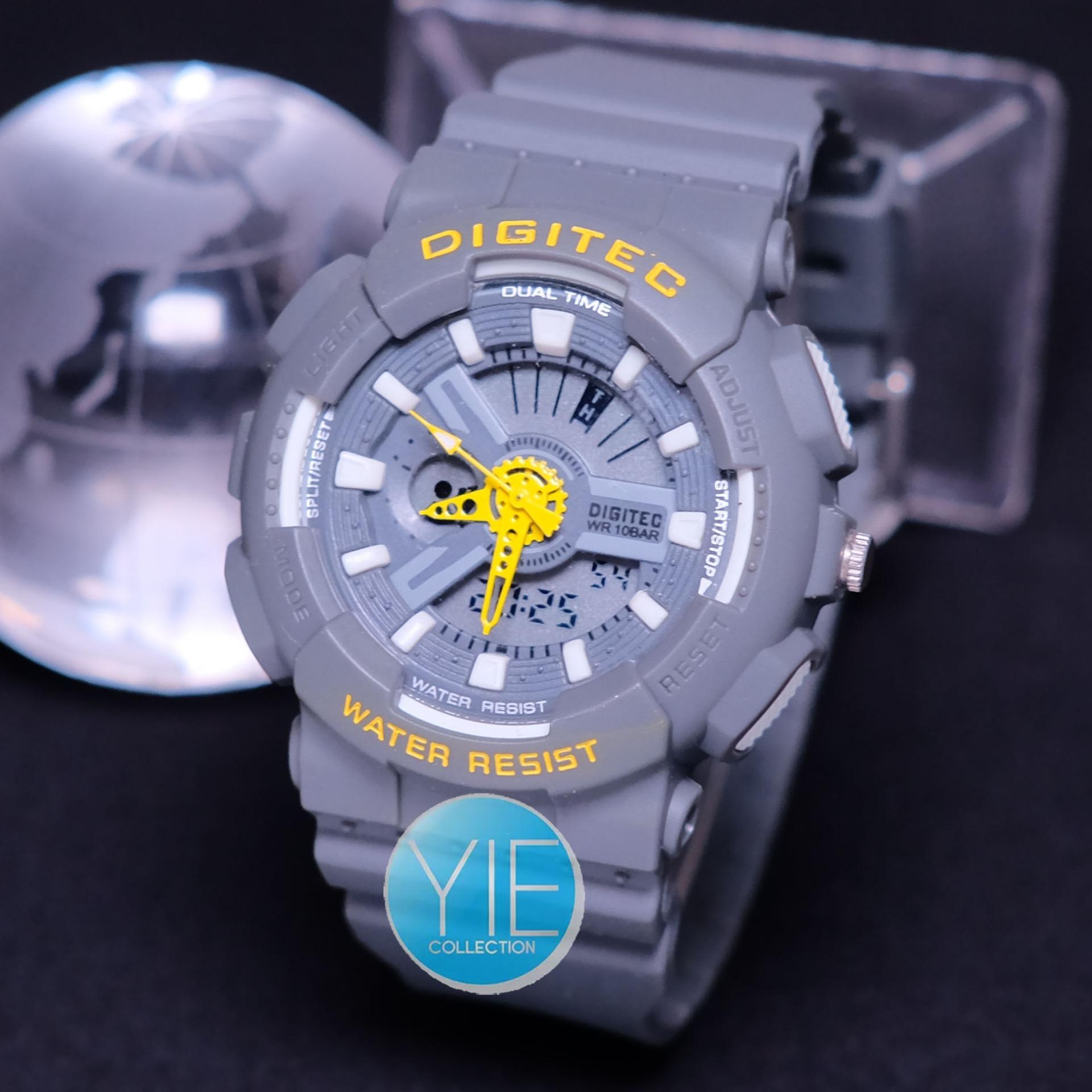 Digitec Jam Tangan Wanita DG 2063 Dual Time Rubber Strap Original - Abu