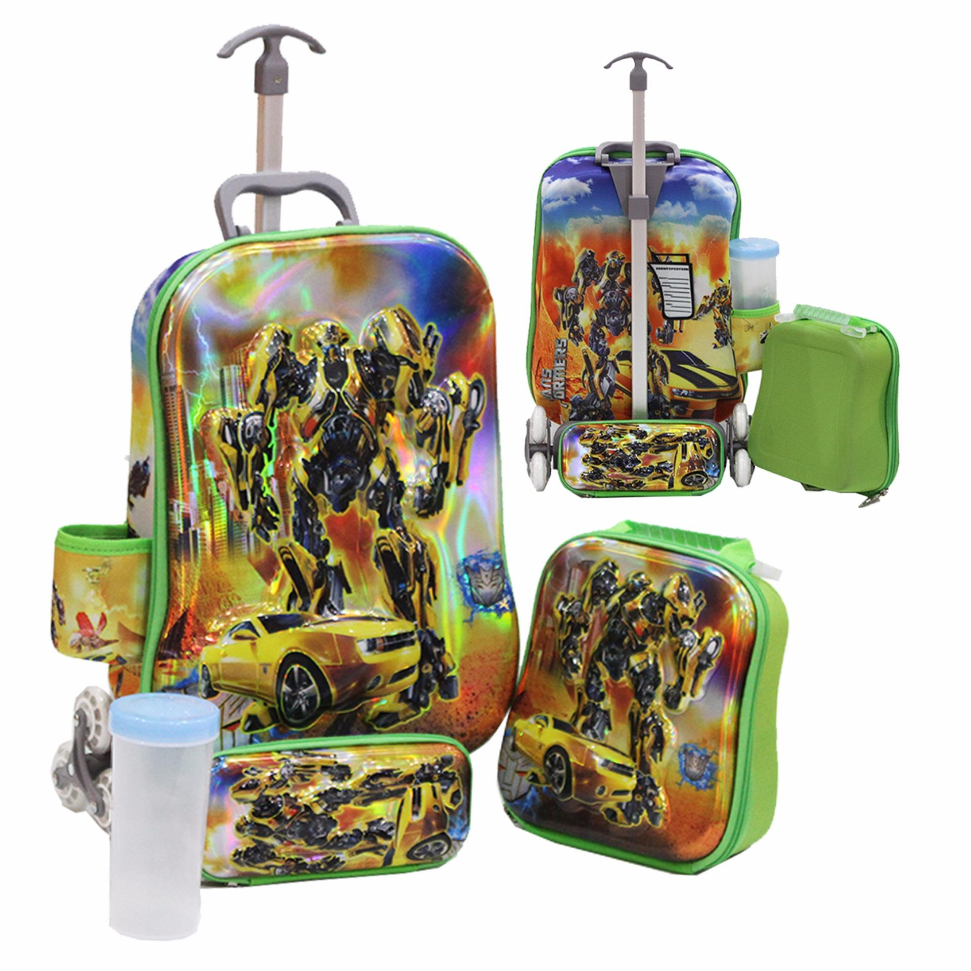 Spesifikasi Onlan Transformers Bumble Bee 6D Timbul Anti Gores Tas Anak 4In1 Set 6 Roda Import Baru