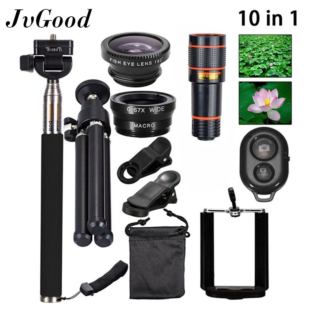 JvGood Phone Camera Lens Set For Mobile Phone 10 In1 Travel Black Fisheye+Wide Angle+Macro+12X Telescope Telephoto Lens+Mini Tripod+Phone Holder