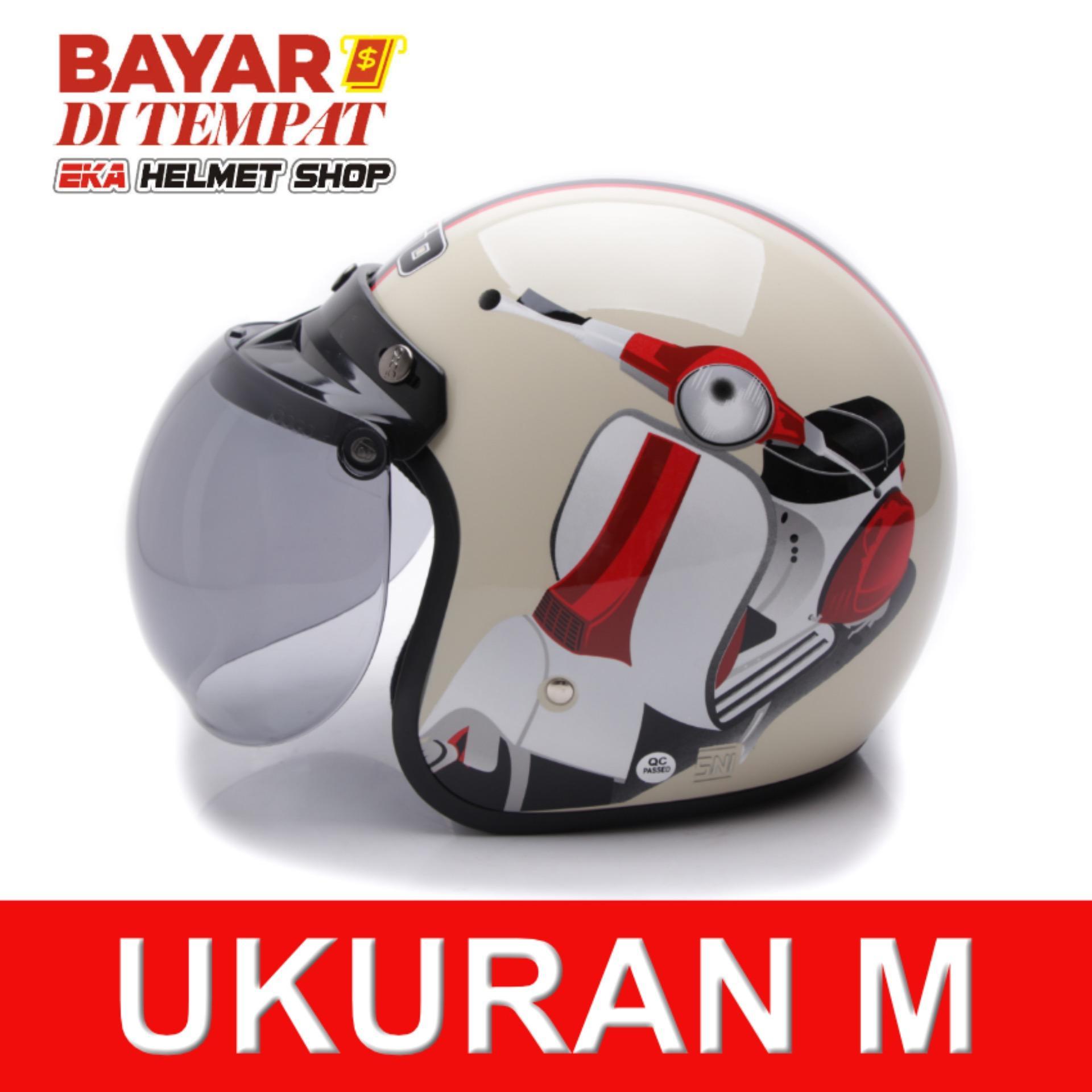 Obral Wto Helmet Retro Bogo Vespa Krem Murah