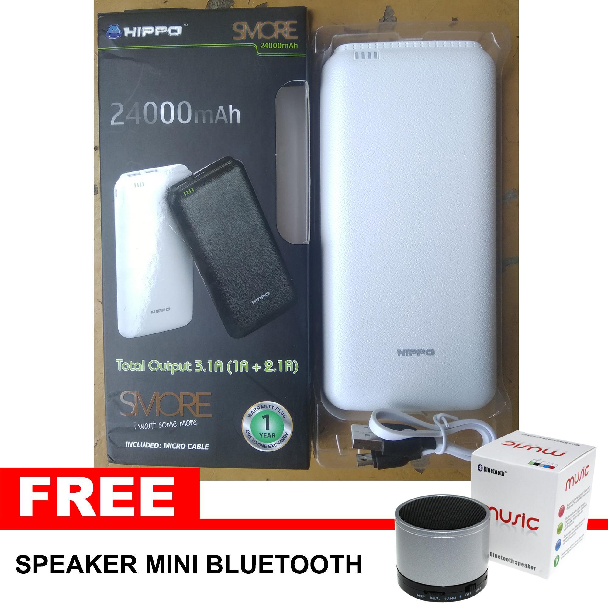 Powerbank Hippo Smore 24000 Mah Free Speaker Bluetooth Mini