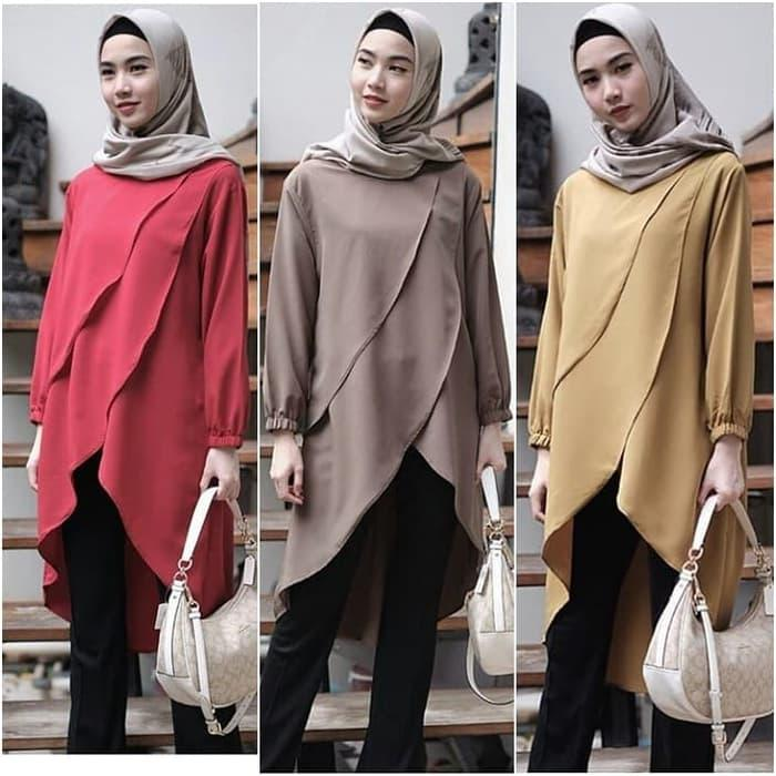 Atasan Wanita Desmira Tunik Blouse Baju Muslim Blus muslim - Maroon