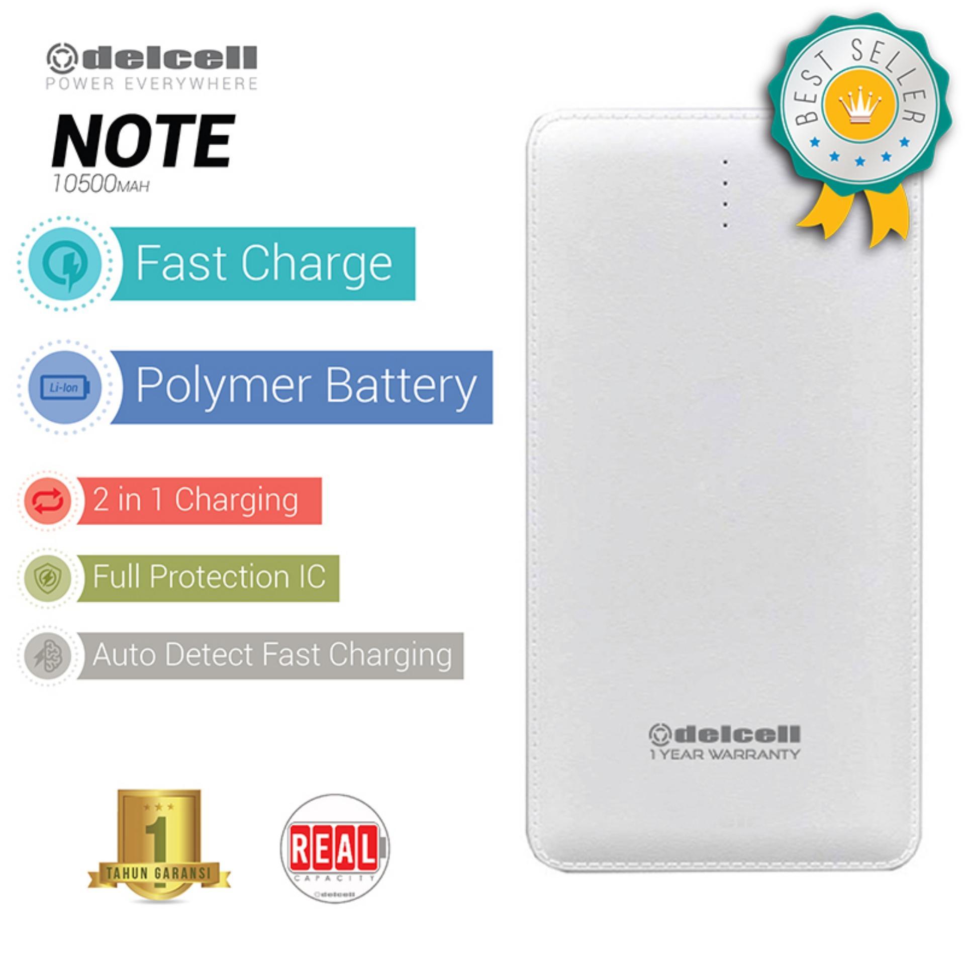 Delcell NOTE Powerbank 10500mAh Real Capacity Fast Charging Polymer Battery - Putih