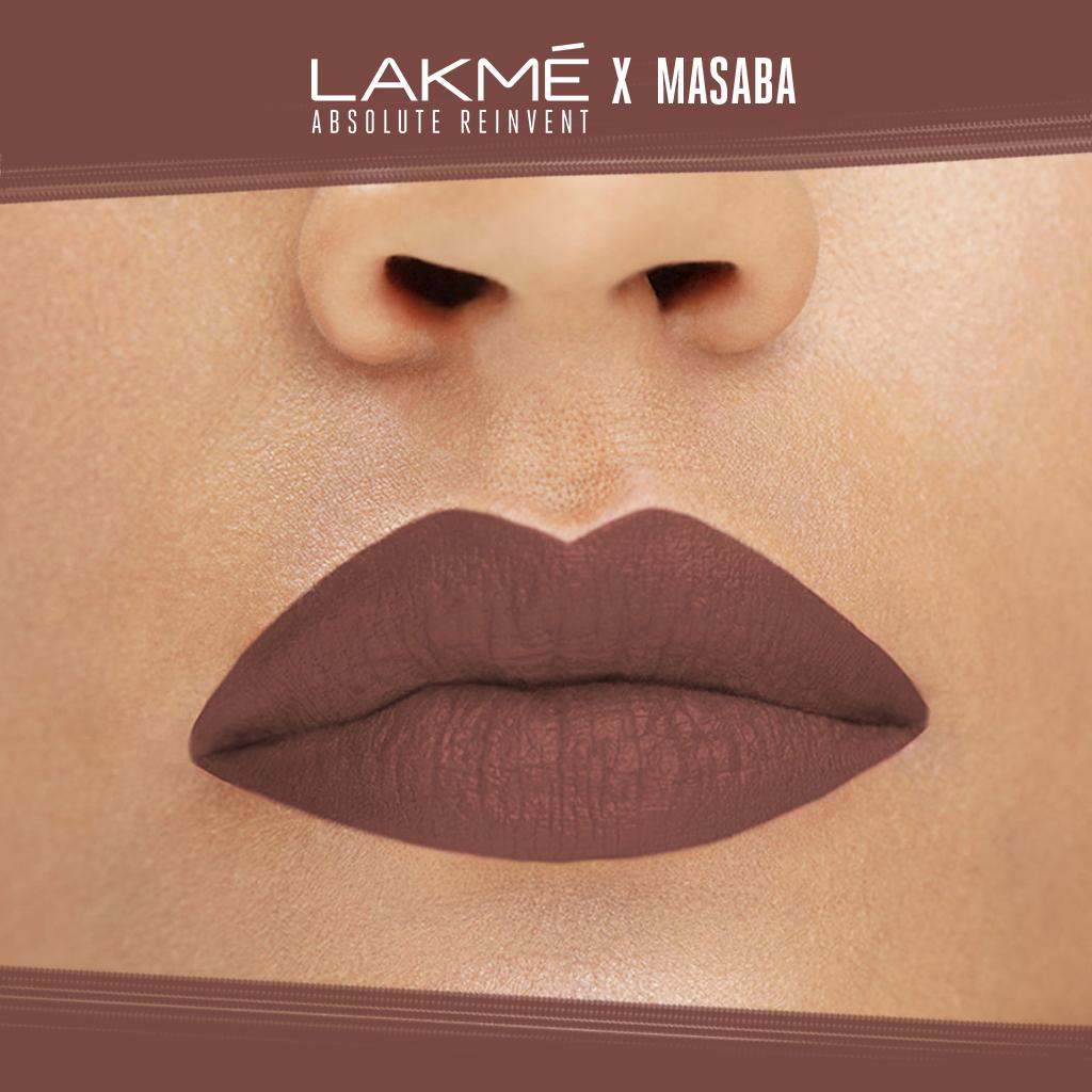 Kehebatan Lakme Absolute Reinvent Lip Pouts Matte Masaba Color Pensil Alis Hot Chocolate 3