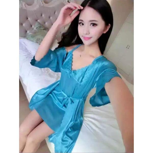 Baju Kimono Tidur Lengan Panjang Katun Satin Bajutidur Import Murah