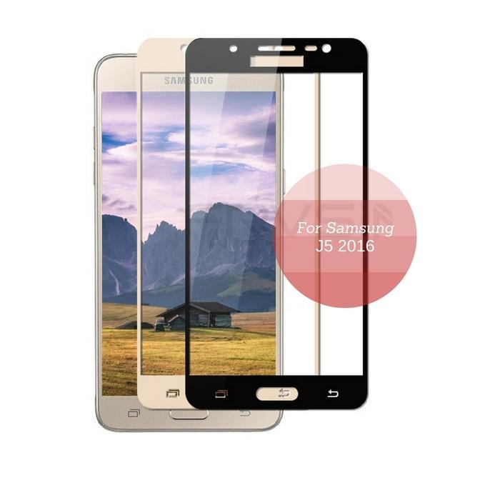 Detail Gambar Tempered Glass / Anti Gores Kaca Samsung Galaxy J5 2016 3D Full Color - Emas Terbaru