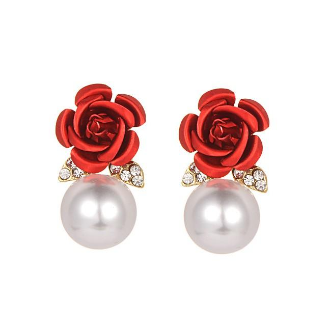 Anting Tusuk Fashion Pearls&flower Decorated Earrings