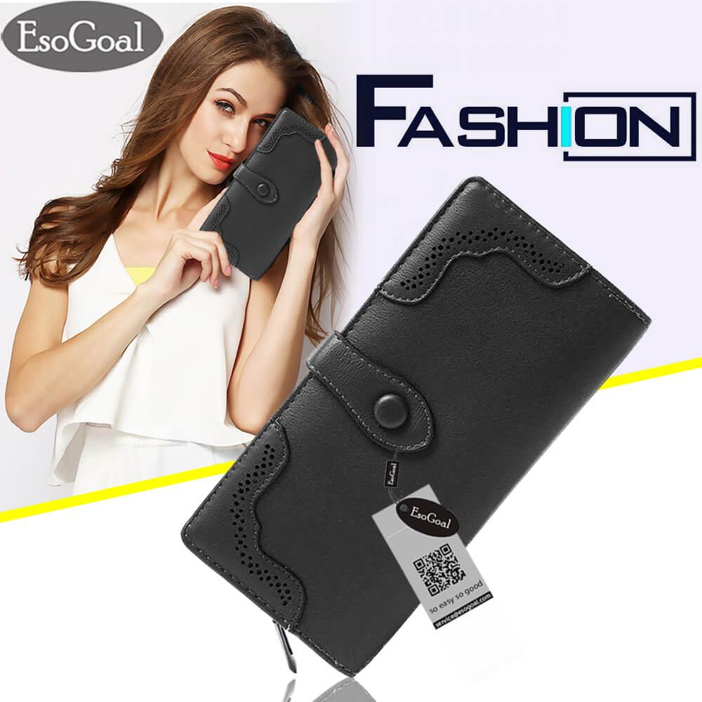 Spesifikasi Esogoal Women Large Capacity Leather Purse Hollow Out Clutch Wallet Trifold Checkbook With Photo Pocket Yang Bagus