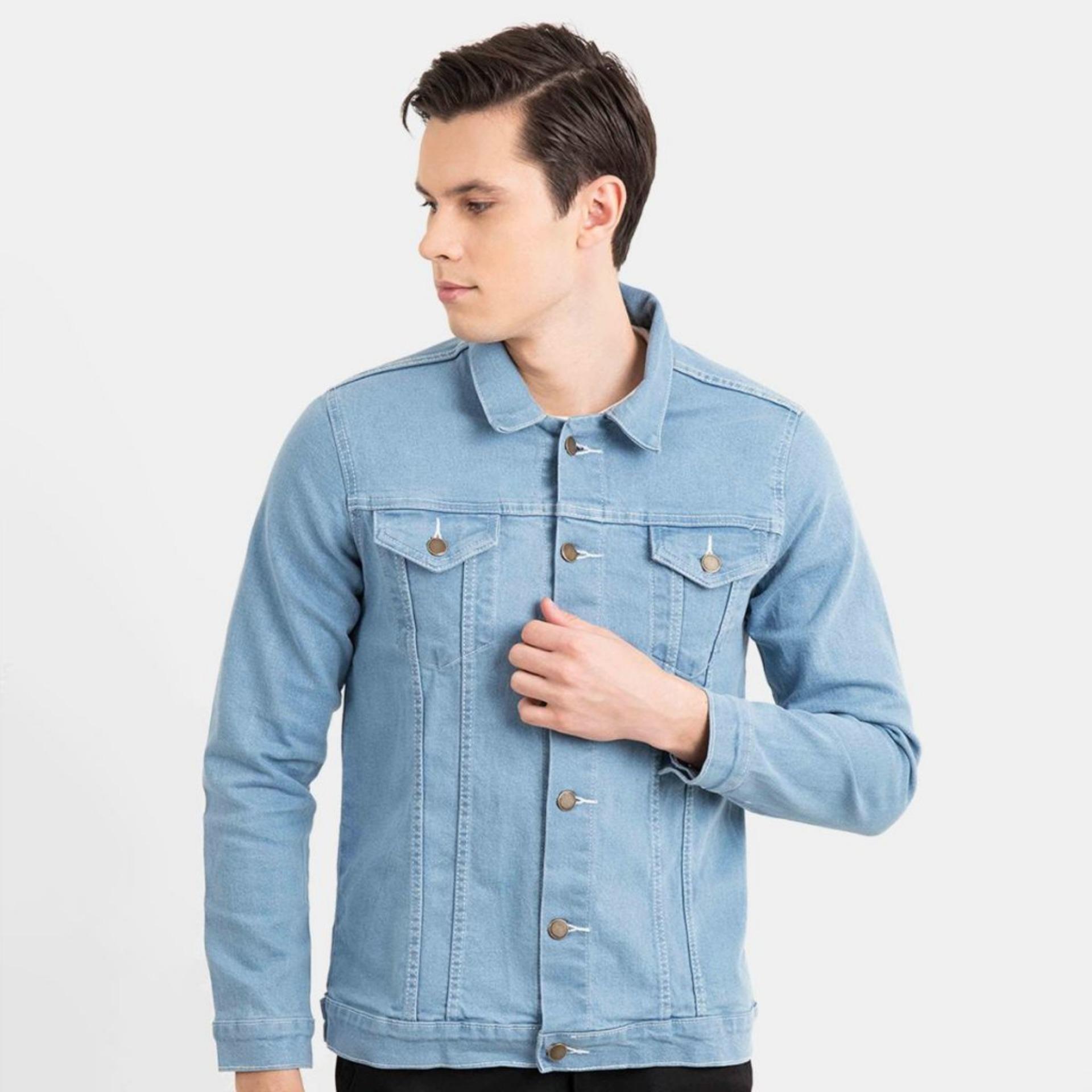 Jaket Mantel Pria Terbaru Jeans Denim Dilan Biru Muda