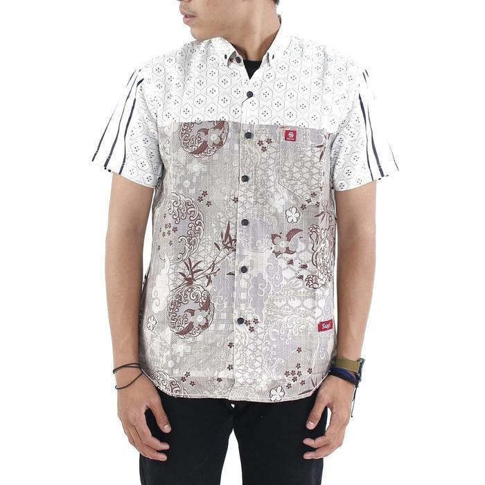 baju kemeja katun motif pria lengan pendek premium