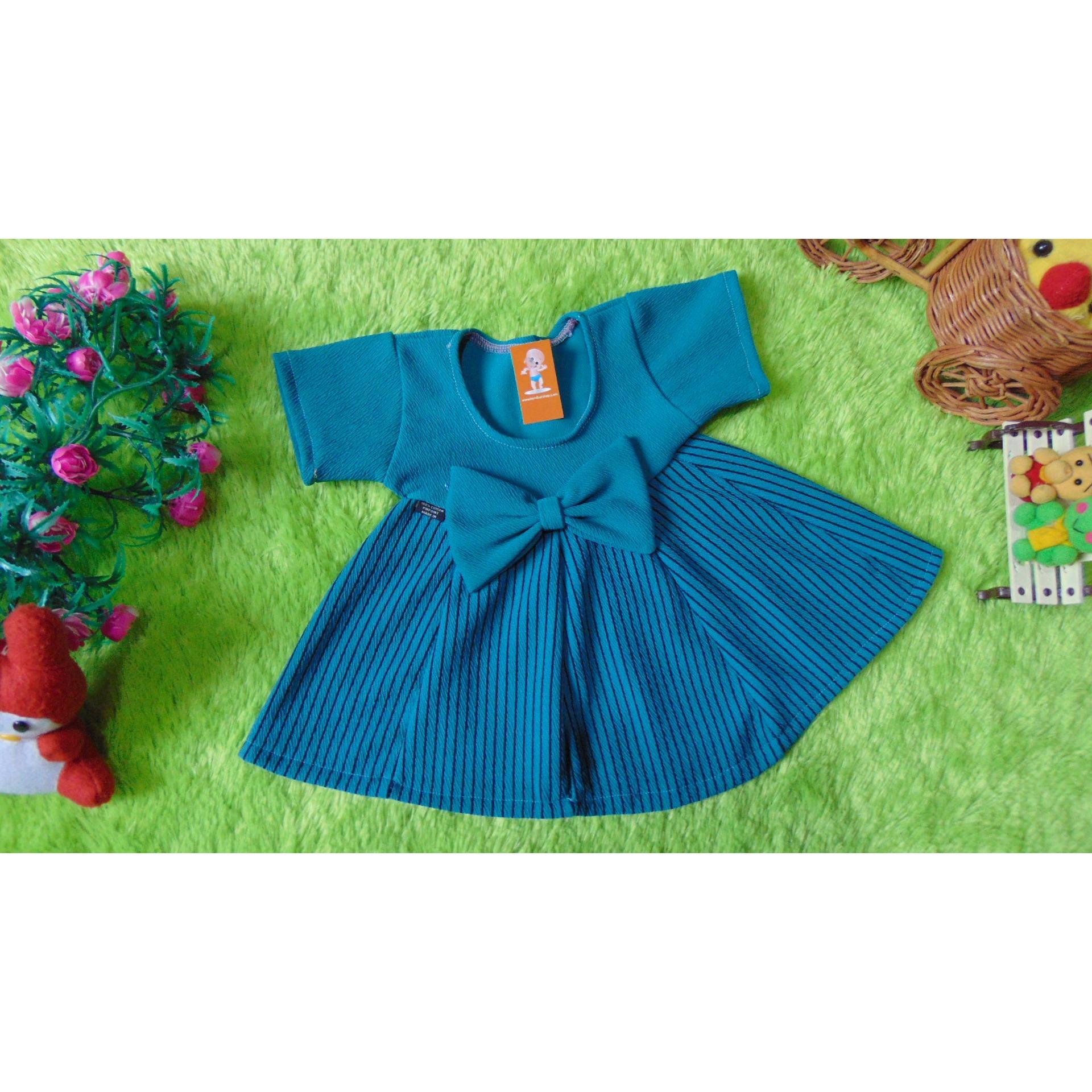 kembarshop - kembarshop - dress baju pesta anak bayi perempuan cewek newborn 0-6bulan pita pastel salur hijau tosca