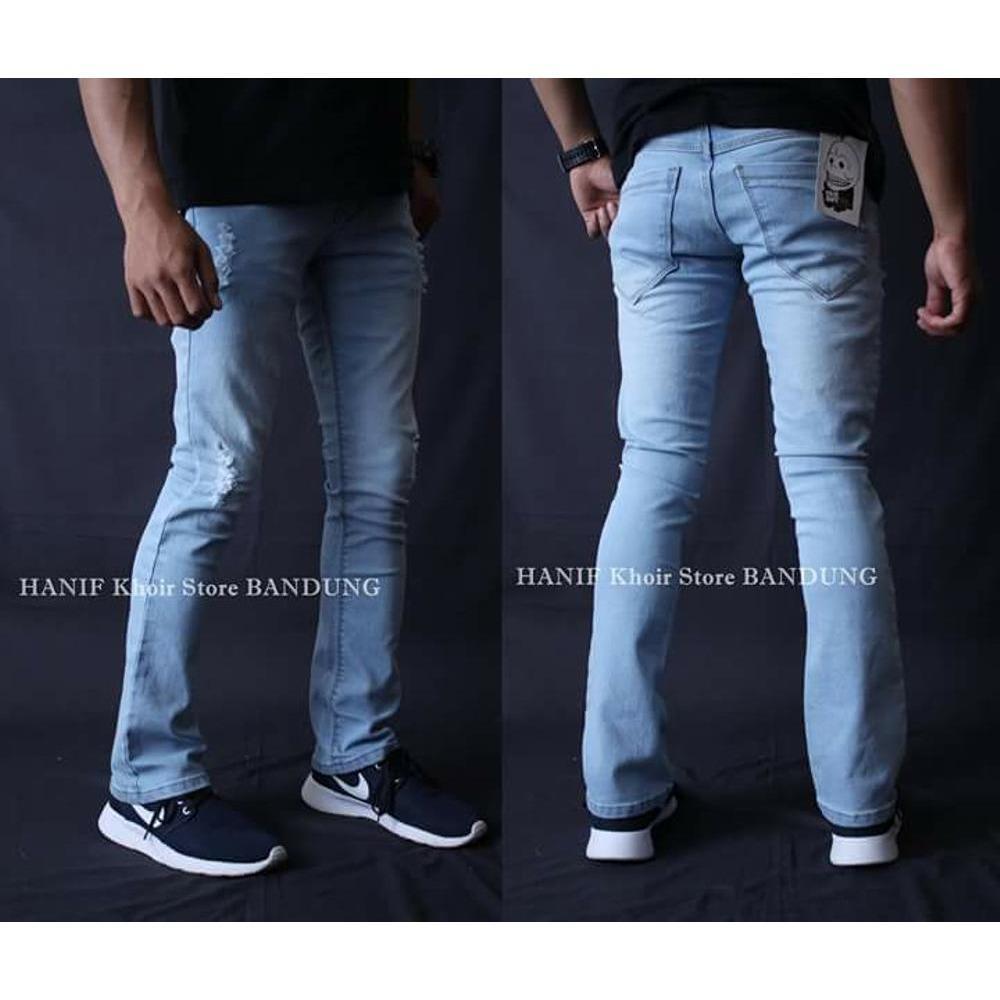 Celana Jeans Cowok Cut Bray Manis Sobek Lutut