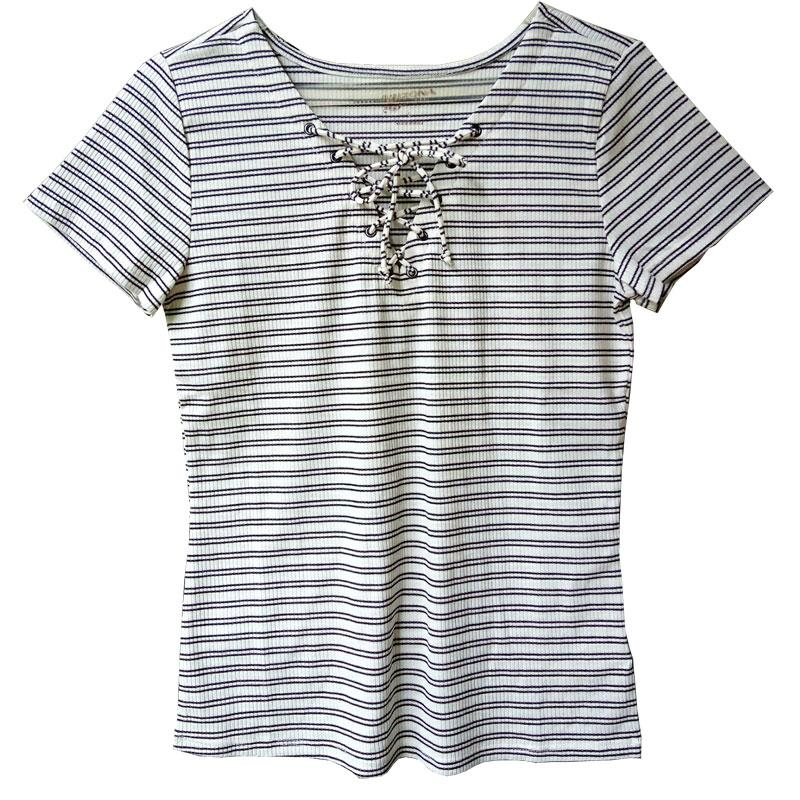 Toko Sikecil Atasan Wanita Blus Lengan Pendek Front Cross Short Sleeves Stripes Blouse Branded Original