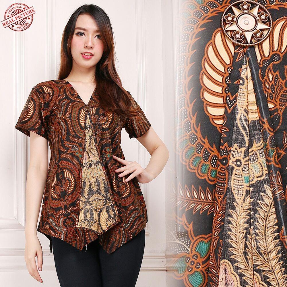 Harga Sb Collection Atasan Blouse Briella Kemeja Lengan Pendek Batik Wanita Fullset Murah