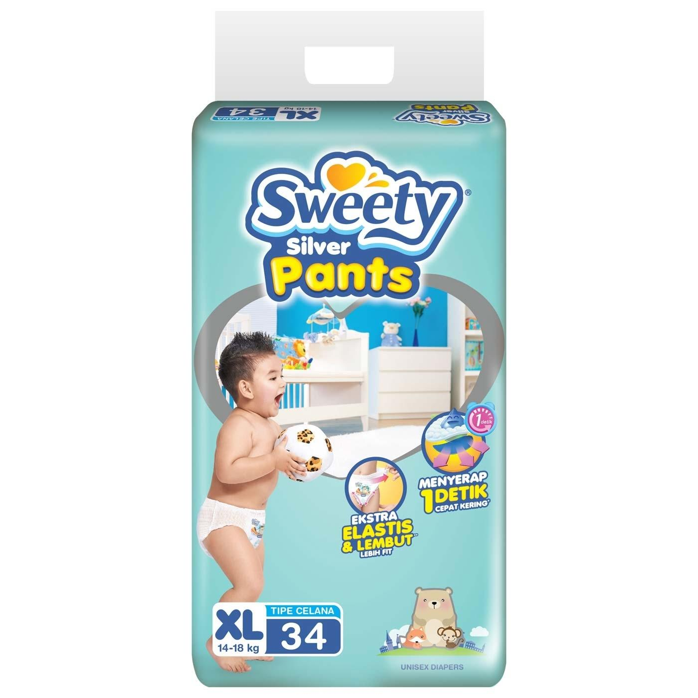 Jual Sweety Diapers Silver Pants Xl 34 Sweety